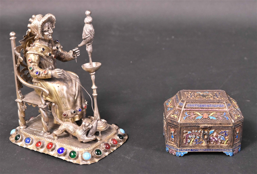German 800 Silver and Glass Decorated Statue