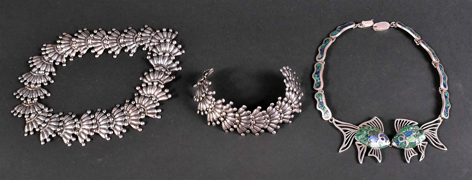 Taxco Mexican Silver Linked Necklace and Bracelet