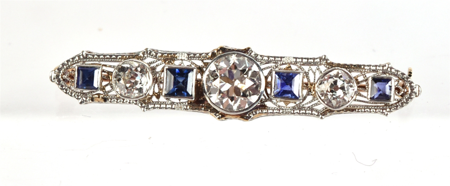 White Gold Yellow Gold Diamond & Sapphire Bar Pin