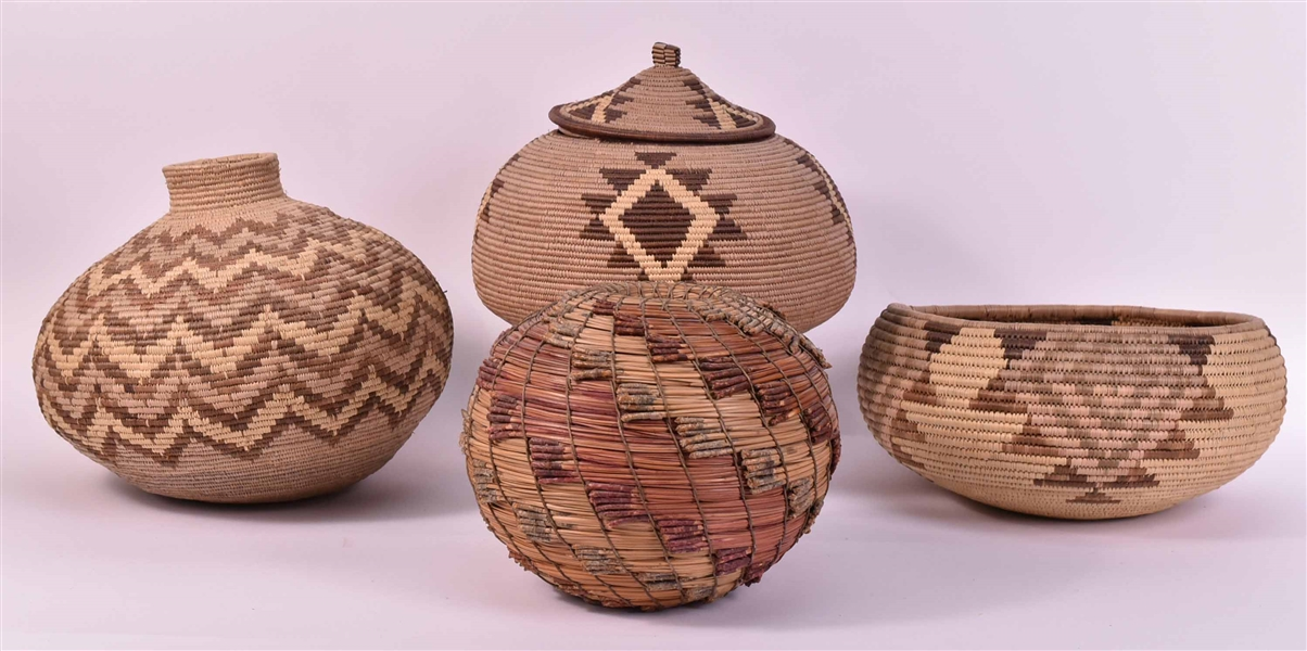 Three Native American Woven Baskets