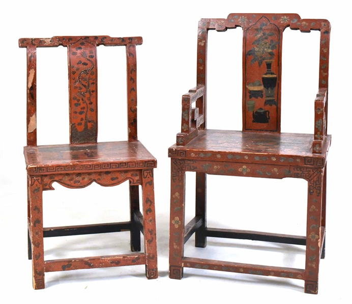 Two Chinese Scarlet-Lacquered Armchairs