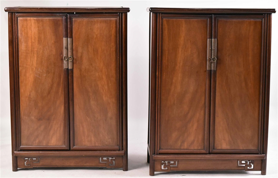 Pair of Chinese Brass-Mounted Hardwood Cabinets