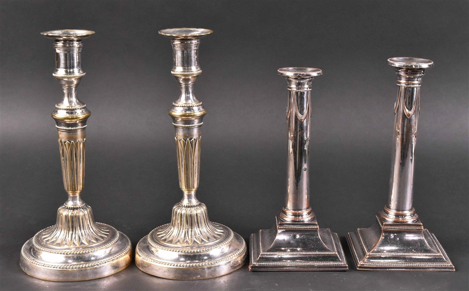 Two Pair of Silver Plated Candlesticks