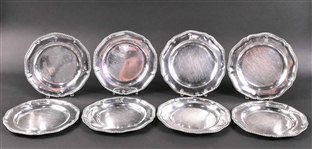 Eight English Georgian Silver Dinner Plates