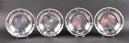 Set of Four English Georgian Silver Soup Plates