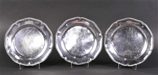 Three English Georgian Silver Dinner Plates