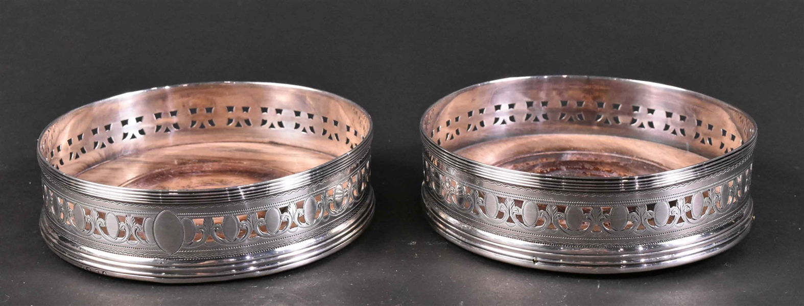 Pair English Georgian Silver Bottle Coasters