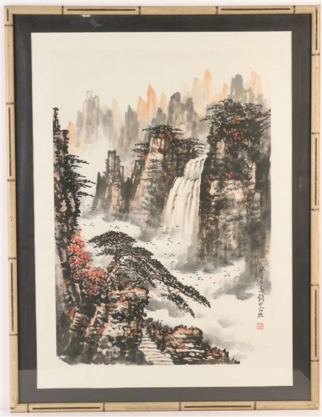 Chinese Watercolor and Ink on Paper, Waterfall
