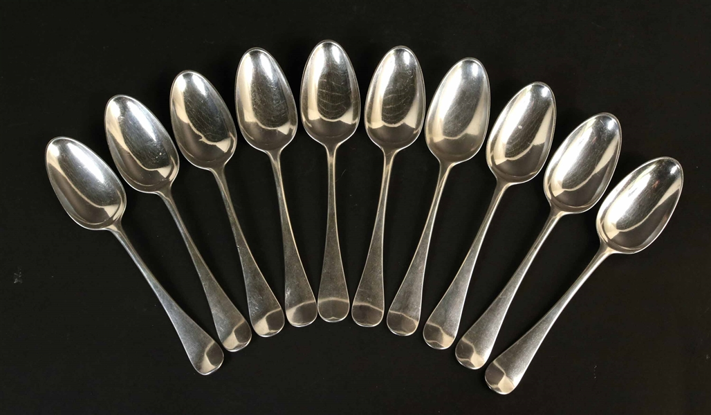 Set Ten George II Silver Hanoverian Tablespoons