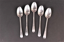 Five American Silver Newport RI Tablespoons
