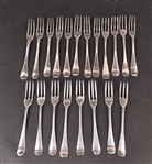 Twenty English Silver Hanoverian Pattern Forks