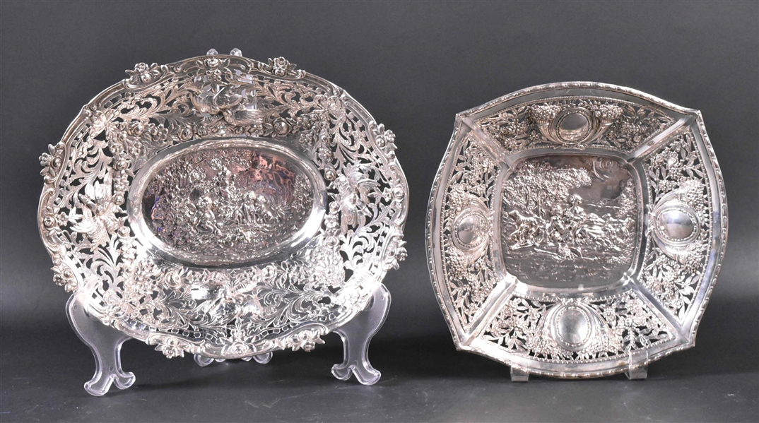 Two German 800 Silver Chased & Pierced Bowls