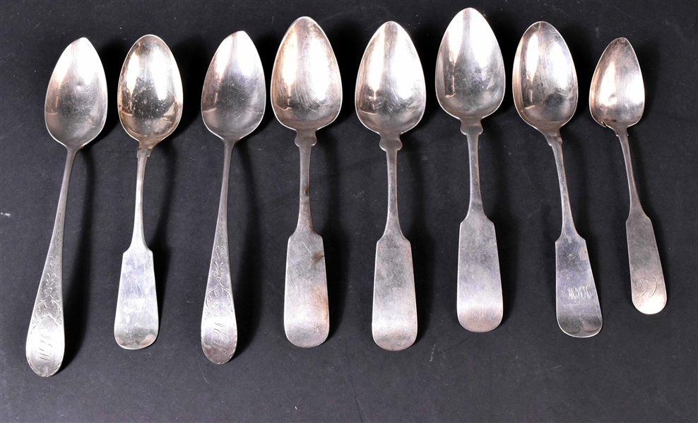 Eight  American Silver Spoons