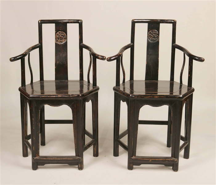 Pair of Chinese Black-Painted Hardwood Armchairs