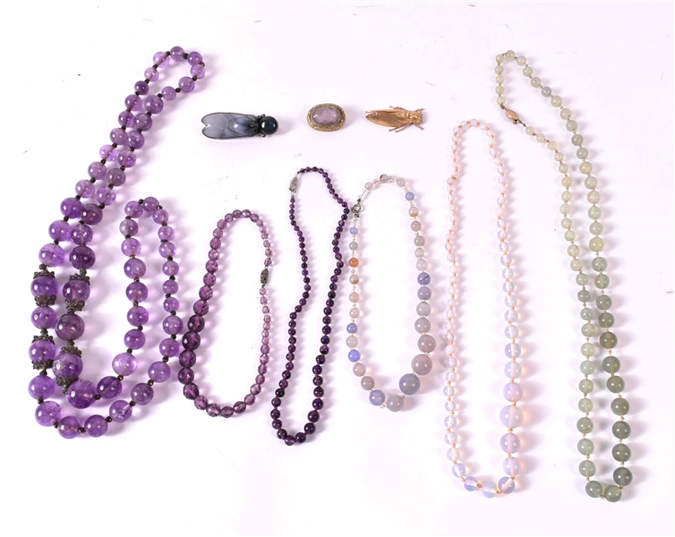 Polish Amethyst Graduated Beaded Necklace