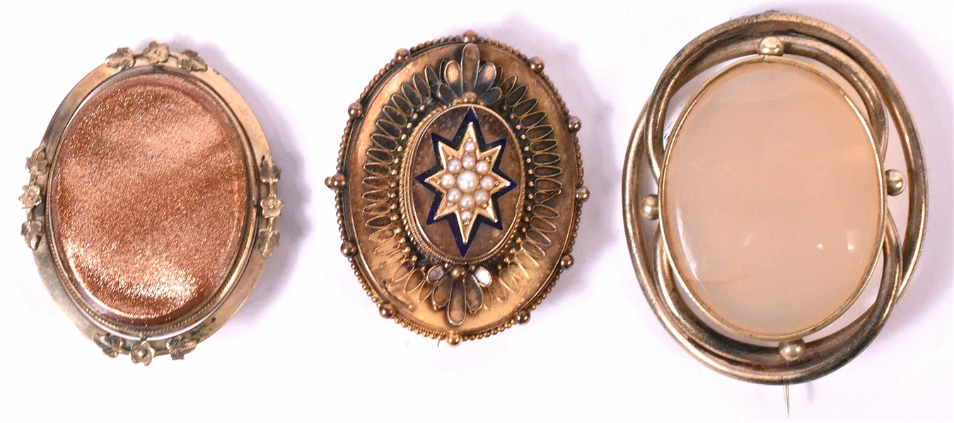 Three Victorian Oval Mourning Pins