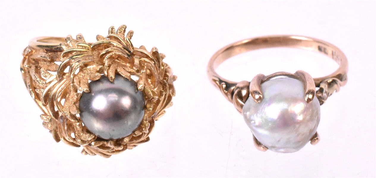 18K Brushed Yellow Gold & Gray Pearl Ring