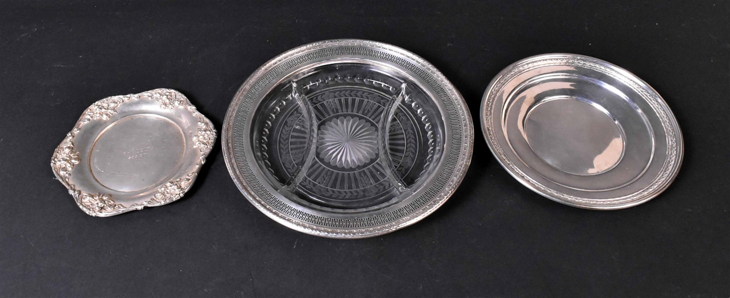 Two Sterling Silver Circular Trays