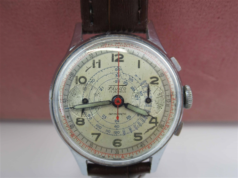Vintage Swiss Fludo Chronograph Mens Manual Watch