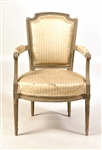 Louis XVI Grey-Painted Fauteuil