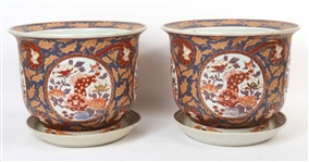 Pair of Chinese Blue-and-Red Glazed Jardinieres