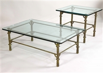 Two Modern Glass-Top Metal Low Tables