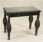 Chinese Glass-Top Ebonized and Rattan Side Table