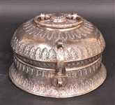 Indian Silver Beetlenut Hinged Handled Box