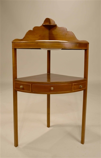 Federal Inlaid Mahogany Corner Washstand
