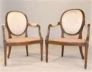 Pair of George III Caned Seat Armchairs