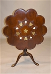George II Brass-Inlaid Mahogany Tea Table