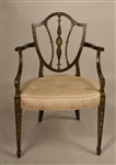 George III Painted and Floral-Decorated Armchair