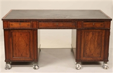 Regency Inlaid Mahogany Partners Desk