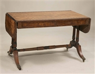 Regency Inlaid and Figured Oak Sofa Table