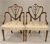 Pair of George III Mahogany Shield-Back Armchairs