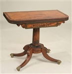 Regency Inlaid Mahogany Swivel-Top Games Table