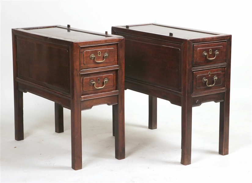 Pair of Chinese Hardwood Two Drawer Stands