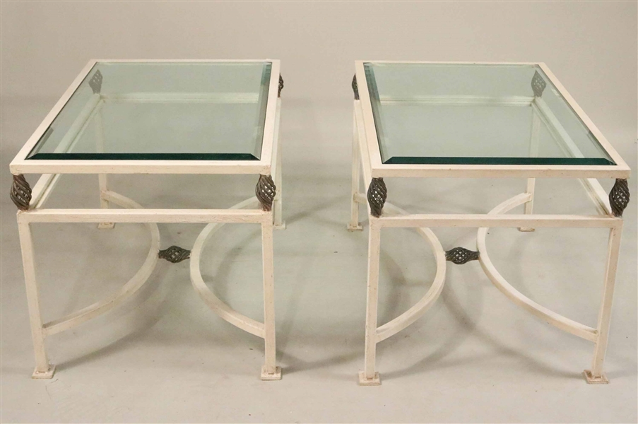Pair of Contemporary White-Painted Iron Tables