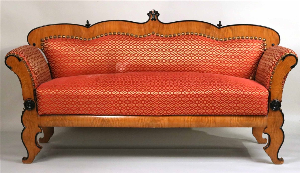 Biedermeier Part-Ebonized Knoll Sofa