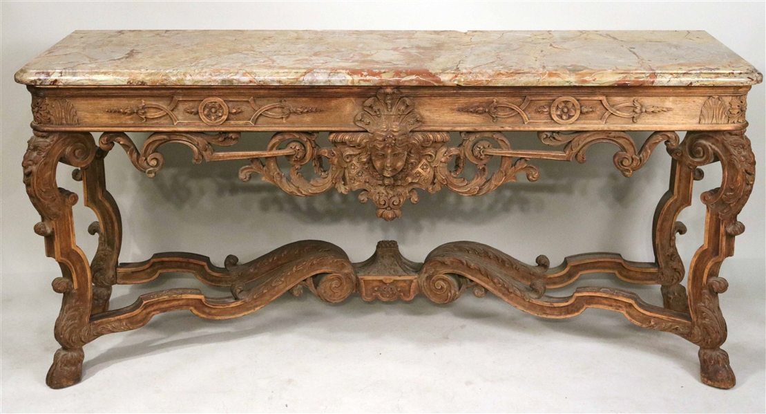 Renaissance Revival Maple Marble Top Console