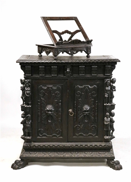 Baroque Style Pine Figural-Decorated Cabinet
