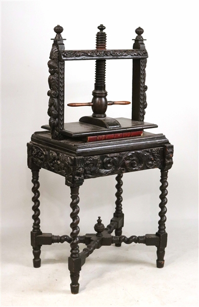 Baroque Style Carved Oak Bookpress