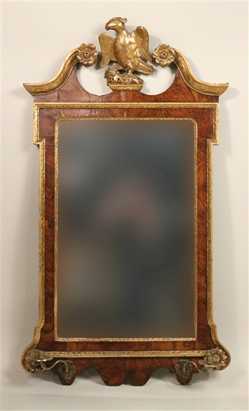 George II Parcel-Gilt Walnut Two-Light Mirror