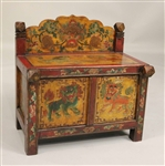 Painted & Polychrome-Decorated Diminutive Cabinet