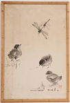 Watercolor on Paper, Birds and a Dragonfly