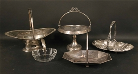 English Sterling Silver and Glass Swing  Basket