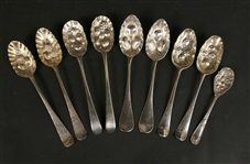 Two Sets of Sterling Silver Berry Spoons