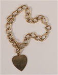14K Gold Chain Bracelet with 14K Gold Heart Charm