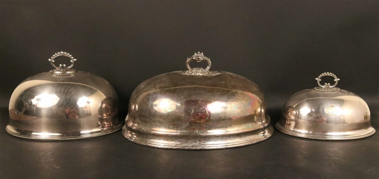 Three Silver Plated Sheffield Dome Covers