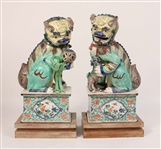 Pair of Porcelain Buddhist Lions